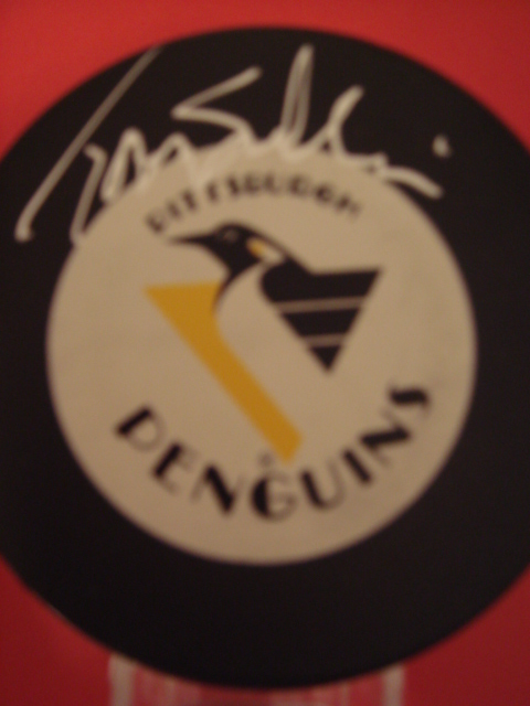 Tomas  Sandstrom Autographed Pittsburgh Penguins Hockey Puck With COA