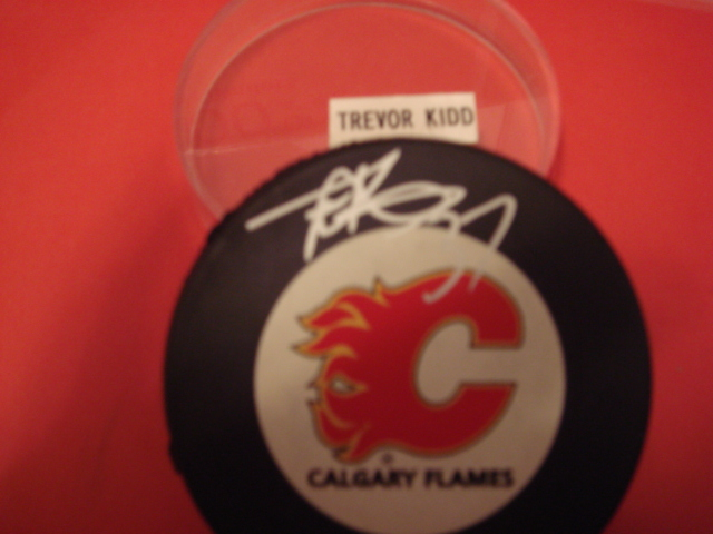 Trevor Kidd Autographed Calgary Flames Hockey Puck With COA