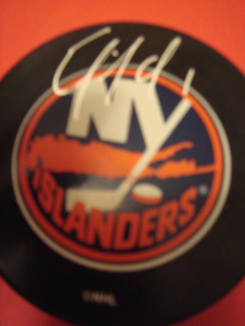 Eric Fichaud Autographed New York Islander Puck With COA