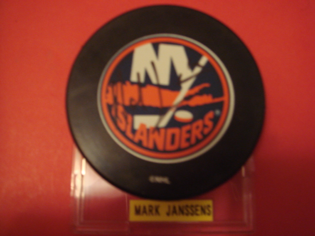 Mark Janssens Autographed New York Islander Puck With COA