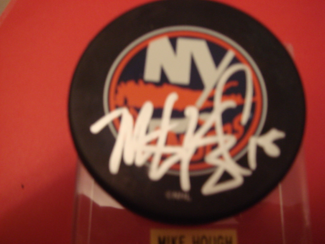 Mike Hough Autographed New York Islander Puck With COA