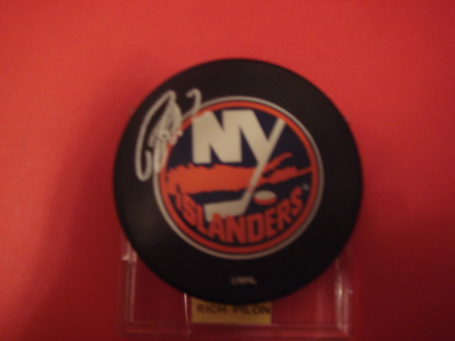 Rich Pilon Autographed New York Islander Puck With COA