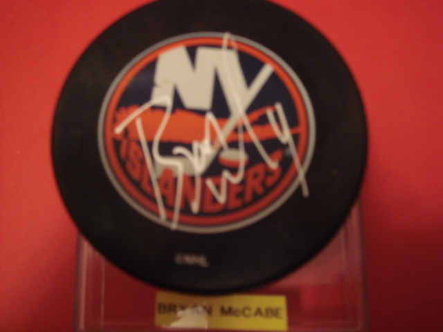 Bryan McCabe Autographed New York Islander Puck With COA