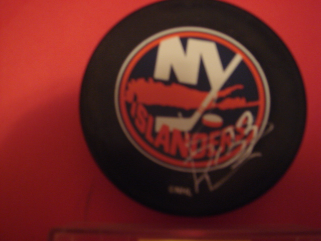 Ken Belanger  Autographed New York Islander Puck With COA