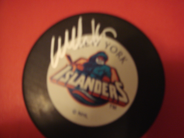 Wendell Clark Autographed New York Islanders Fisherman Puck With COA