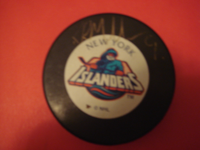 Kirk Muller Autographed New York Islanders Fisherman Puck With COA
