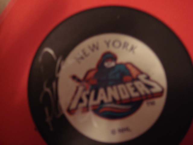 Dan Plante Autographed New York Islanders Fisherman Puck With COA