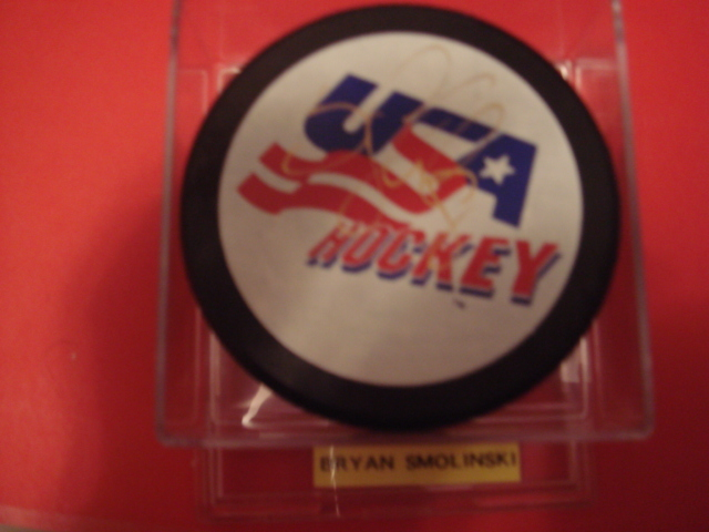 Bryan Smolinski Autographed USA Puck With COA