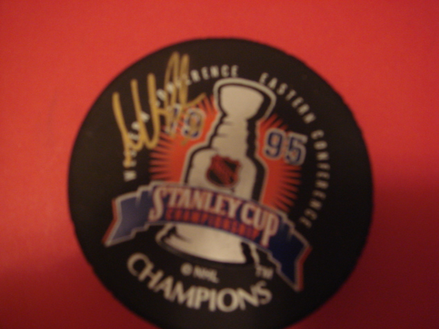 Martin Broduer Autographed 1995 Stanley Cup/New Jersey Devils Puck Signed on the SC Side With COA