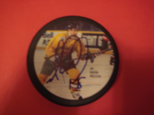 Mark Recchi Autographed Picture Puck with COA