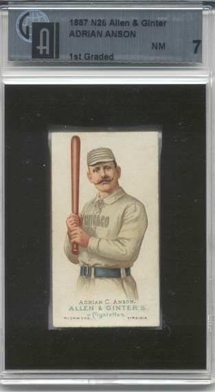 1887 Allen and Ginter N28 * #1 Cap Anson (Graded GAI 7 - Near Mint) (Chicago Cubs, Natl.)