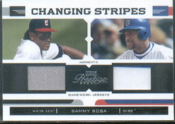 2004 Playoff Prestige Changing Stripes Dual Jersey #25 Sammy Sosa Sox-Cubs