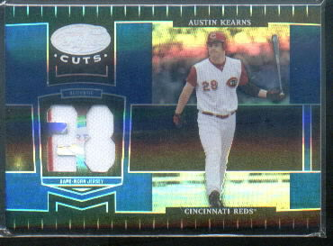 2004 Leaf Certified Cuts Marble Material Blue Number #59 Austin Kearns Jsy/28
