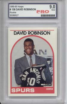 David Robinson, 89-90 Hoops Rookie Card Graded 9