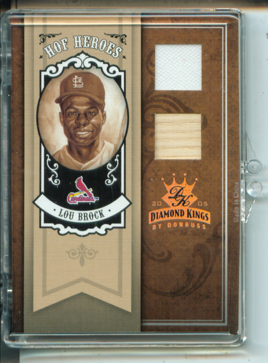 2005 Diamond Kings HOF Heroes Materials Bronze #99 Lou Brock Bat-Jsy/50