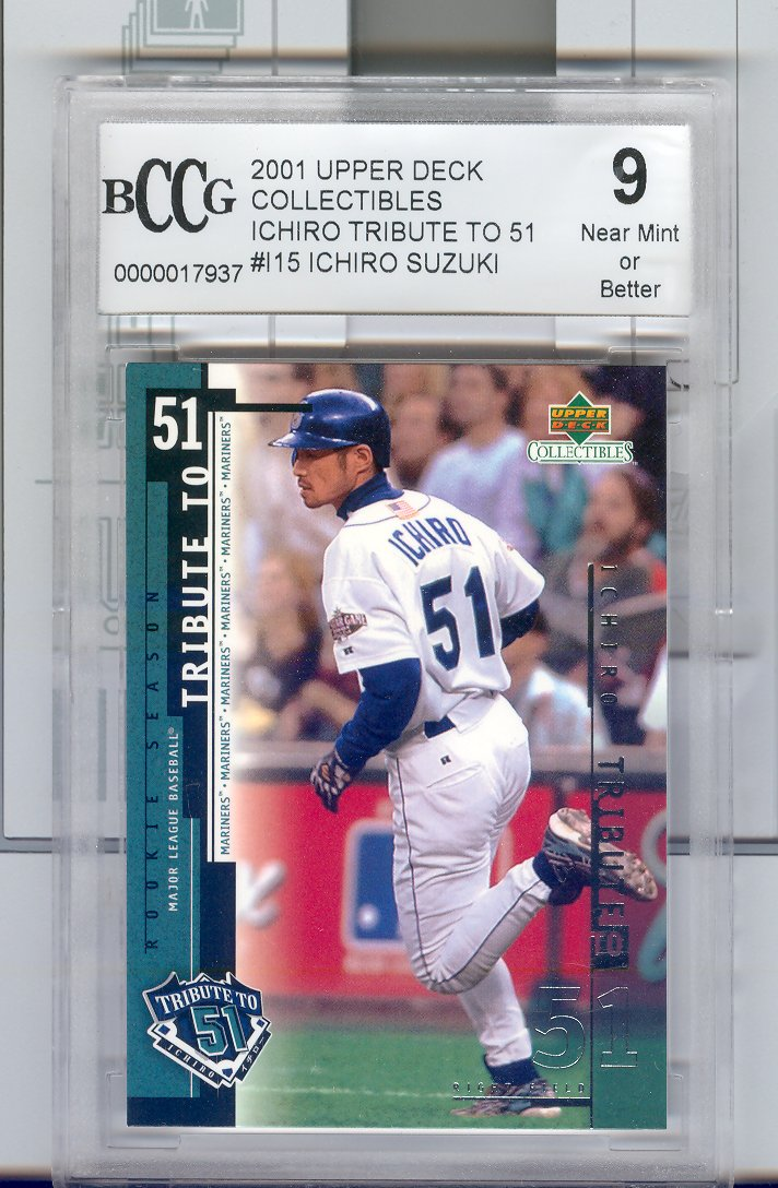 2001 Upper Deck #15 Ichiro Suzuki  Rookie - Tribute to 51   Graded BCCG Grade 9  Near Mint or Bettter  $25.00