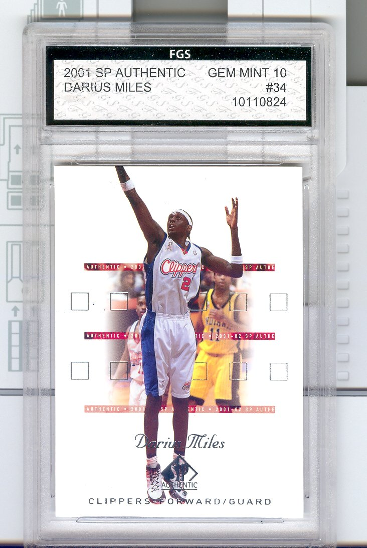 2001  SP AUTHENTIC   #34 Darius Miles   Graded FGS GEM MINT  10   $30.00