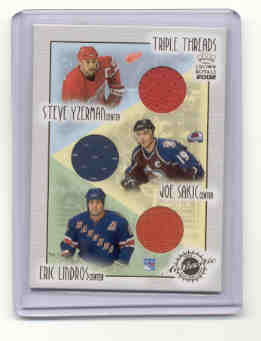 2001-02 Crown Royale Triple Threads #11 Steve Yzerman/Joe Sakic/Eric Lindros