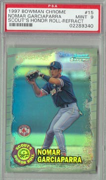 1997 Bowman Chrome Baseball #15 Nomar Garciaparra Scout's Honor Roll Refractor PSA Mint 9 AWESOME!!