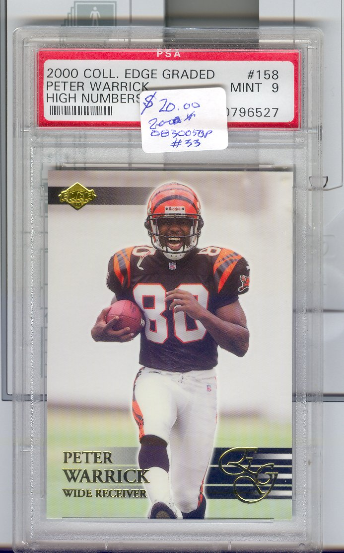 2000 Coll. Edge Graded #158 Peter Warrick Mint 9   $20.00