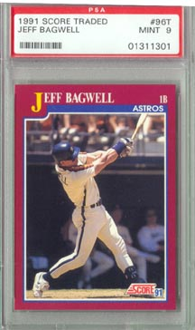 1991 Score Traded Baseball #96T Jeff Bagwell Rookie PSA Mint 9 NICE!