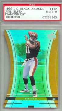 1999 Upper Deck Black Diamond Football #112 AKILI SMITH ROOKIE Diamond Cut BENGALS PSA MINT 9 NICE!
