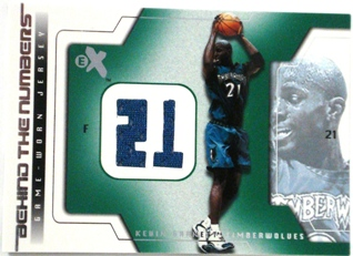 2003-04 E-X Behind the Numbers Game-Used #13 Kevin Garnett