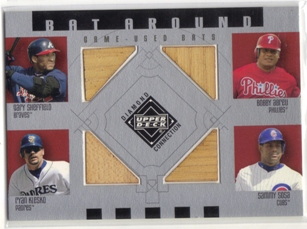 2002 Upper Deck Diamond Connection Bat Around Quads #SAKS Shef/Abreu/Klesko/Sosa