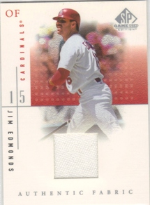 2001 SP Game Used Edition Authentic Fabric #JE Jim Edmonds DP