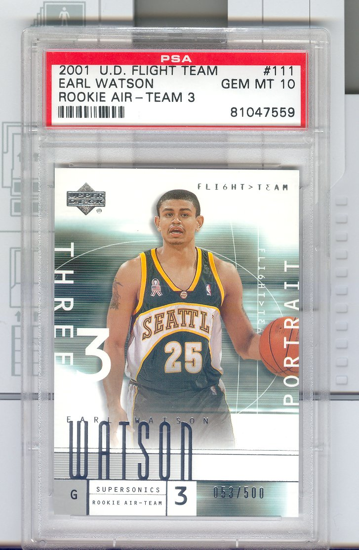 2001-02 Upper Deck Flight Team #111  Earl Watson PSA Graded GEM MT 10  $30.00