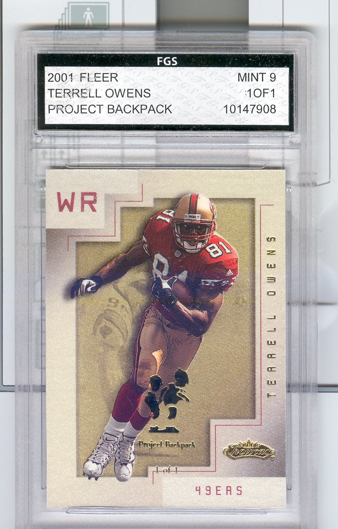 2001  Fleer Showcase #17   Terrell Owens   Chicago Collection  Project Backpack   FGS Graded Mint 9