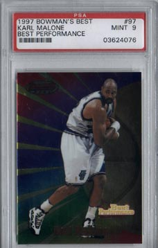 1997/98 Bowman's Best Basketball #97 Karl Malone Best Performance Mint PSA 9 NICE!!