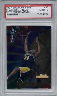 1997/98 Bowman's Best Basketball #95 Shaquille O'Neal Best Performance Mint PSA 9 BEAUTIFUL!!