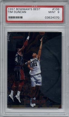 1997/98 Bowman's Best Basketball #106 Tim Duncan Rookie Mint PSA 9 NICE!