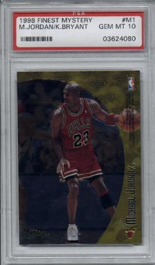 1998/99 Topps Finest Basketball #M1 Michael Jordan/Kobe Bryant Mystery Finest PSA Gem Mint 10