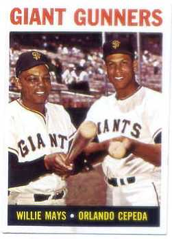 1964 Topps #306 Giant Gunners/Willie Mays/Orlando Cepeda