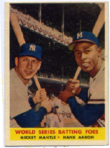 1958 Topps #418 World Series Batting Foes/Mickey Mantle/Hank Aaron