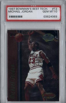 1997/98 Bowman's Best Basketball #T2 Michael Jordan Best Techniques PSA Gem Mint 10 Bulls