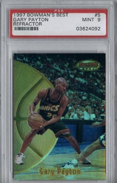 1997/98 Bowman's Best Basketball #5R Gary Payton Refractor Mint PSA 9 BEAUTIFUL!!
