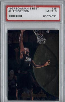 1997/98 Bowman's Best Basketball #38 Allen Iverson PSA MINT 9 NICE!!
