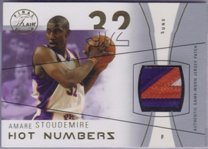 2003-04 Flair Final Edition Hot Numbers Patches Gold #AS Amare Stoudemire/32