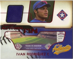 2002 Fleer Authentix Jersey AuthenTIX #JAIR Ivan Rodriguez