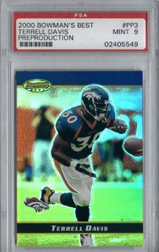 2000 Bowman's Best Football #PP3 Terrell Davis Preproduction Promo Mint PSA 9 Denver BRONCOS NICE!!