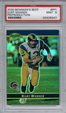 2000 Bowman's Best Football #NNO Kurt Warner Preproduction Promo Mint PSA 9 St Louis RAMS NICE!!!