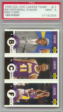 1996/97 Collector's Choice #L1G Kobe Bryant  Elden Campbell  Derek Fisher  Lakers Team Card PSA MINT 9!!