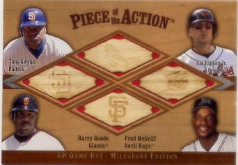2001 SP Game Bat Milestone Piece of Action Quads #GRBM Gwynn/Rip/Bonds/McGr