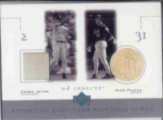 2001 UD Reserve Ball-Base Duos #BJP Derek Jeter/Mike Piazza