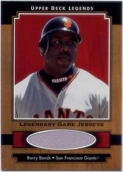 2001 Upper Deck Legends Legendary Game Jersey #JBB Barry Bonds