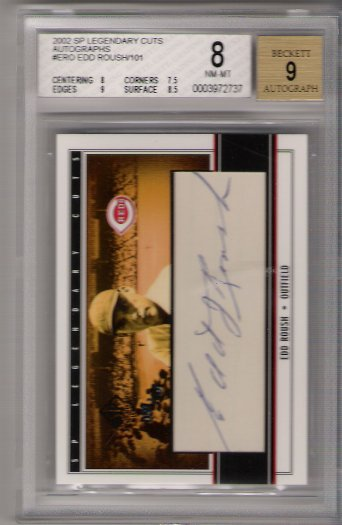 2002 SP Legendary Cuts Autograph #ERO Edd Roush /101 BGS 8 BGS Autograph 9 Cincinnati Reds
