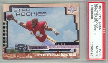 1999 Upper Deck Football #256 Michael Cloud Star ROOKIE Level 1 #005/100 Exclusives PSA  MINT 9 RARE!